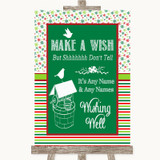 Red & Green Winter Wishing Well Message Customised Wedding Sign
