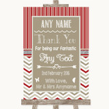 Red & Grey Winter Thank You Bridesmaid Page Boy Best Man Wedding Sign