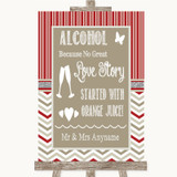 Red & Grey Winter Alcohol Bar Love Story Customised Wedding Sign