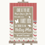 Red & Grey Winter All Family No Seating Plan Customised Wedding Sign