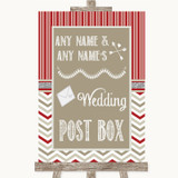 Red & Grey Winter Card Post Box Customised Wedding Sign