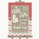 Red & Grey Winter Cards & Gifts Table Customised Wedding Sign