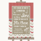 Red & Grey Winter Cheese Board Song Customised Wedding Sign
