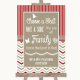 Red & Grey Winter Choose A Seat We Are All Family Customised Wedding Sign