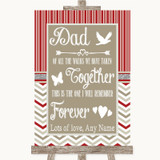 Red & Grey Winter Dad Walk Down The Aisle Customised Wedding Sign