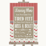 Red & Grey Winter Dancing Shoes Flip-Flop Tired Feet Customised Wedding Sign