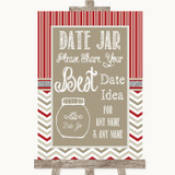 Red & Grey Winter Date Jar Guestbook Customised Wedding Sign
