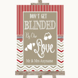 Red & Grey Winter Don't Be Blinded Sunglasses Customised Wedding Sign