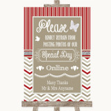 Red & Grey Winter Don't Post Photos Online Social Media Wedding Sign