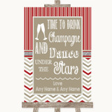 Red & Grey Winter Drink Champagne Dance Stars Customised Wedding Sign
