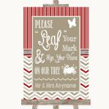 Red & Grey Winter Fingerprint Tree Instructions Customised Wedding Sign