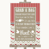 Red & Grey Winter Grab A Bag Candy Buffet Cart Sweets Customised Wedding Sign