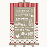 Red & Grey Winter Guestbook Advice & Wishes Mr & Mrs Customised Wedding Sign