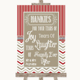 Red & Grey Winter Hankies And Tissues Customised Wedding Sign