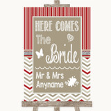 Red & Grey Winter Here Comes Bride Aisle Sign Customised Wedding Sign