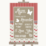 Red & Grey Winter I Love You Message For Mum Customised Wedding Sign
