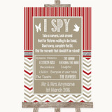 Red & Grey Winter I Spy Disposable Camera Customised Wedding Sign