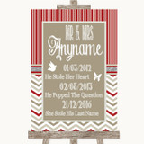 Red & Grey Winter Important Special Dates Customised Wedding Sign