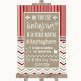 Red & Grey Winter Instagram Photo Sharing Customised Wedding Sign