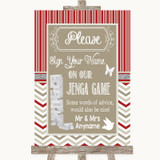 Red & Grey Winter Jenga Guest Book Customised Wedding Sign