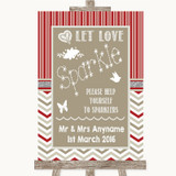 Red & Grey Winter Let Love Sparkle Sparkler Send Off Customised Wedding Sign