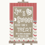Red & Grey Winter Love Is Sweet Take A Treat Candy Buffet Wedding Sign