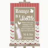 Red & Grey Winter Message In A Bottle Customised Wedding Sign