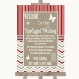 Red & Grey Winter No Phone Camera Unplugged Customised Wedding Sign