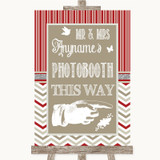 Red & Grey Winter Photobooth This Way Right Customised Wedding Sign