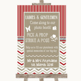 Red & Grey Winter Pick A Prop Photobooth Customised Wedding Sign