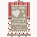 Red & Grey Winter Puzzle Piece Guest Book Customised Wedding Sign