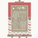 Red & Grey Winter Romantic Vows Customised Wedding Sign