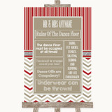 Red & Grey Winter Rules Of The Dance Floor Customised Wedding Sign