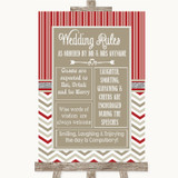 Red & Grey Winter Rules Of The Wedding Customised Wedding Sign