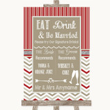 Red & Grey Winter Signature Favourite Drinks Customised Wedding Sign