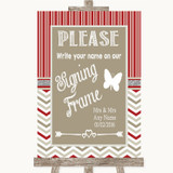 Red & Grey Winter Signing Frame Guestbook Customised Wedding Sign