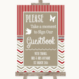 Red & Grey Winter Take A Moment To Sign Our Guest Book Customised Wedding Sign