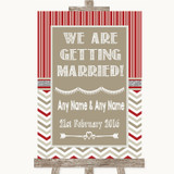 Red & Grey Winter We Are Getting Married Customised Wedding Sign