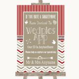 Red & Grey Winter Wedpics App Photos Customised Wedding Sign