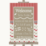 Red & Grey Winter Welcome Order Of The Day Customised Wedding Sign