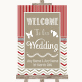 Red & Grey Winter Welcome To Our Wedding Customised Wedding Sign