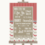 Red & Grey Winter When I Tell You I Love You Customised Wedding Sign