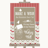 Red & Grey Winter Wishing Well Message Customised Wedding Sign