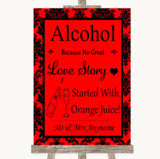 Red Damask Alcohol Bar Love Story Customised Wedding Sign
