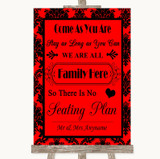Red Damask All Family No Seating Plan Customised Wedding Sign