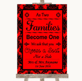 Red Damask As Families Become One Seating Plan Customised Wedding Sign