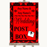 Red Damask Card Post Box Customised Wedding Sign