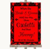 Red Damask Confetti Customised Wedding Sign