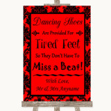 Red Damask Dancing Shoes Flip-Flop Tired Feet Customised Wedding Sign