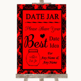 Red Damask Date Jar Guestbook Customised Wedding Sign